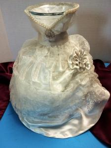Antique Bridal Dress Vase made from Great Grandma's Dress and Veil Material