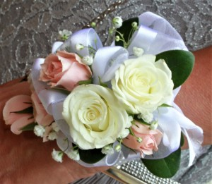 Pink & White Spray Rose Wrist Corsage