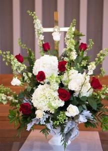 Altar Arrangement Red & White