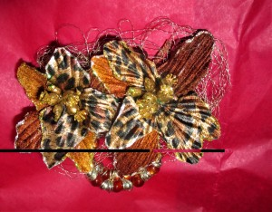 Animal Print Silk Flower Corsage & Bracelet