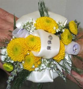 Button Mum & Gem Wrist  Corsage