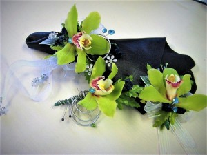 Cymbidium Orchid Corsage, Bout & Hair Comb