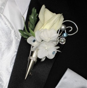 Embellished Rose with Silver Cone & Gems