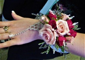Fancy Wrist Corsage with Rhinestone Ring & Wristband
