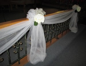 Church Rail Draped with Tulle & Flowers
