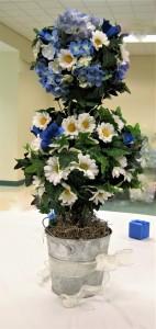 Blue Hydrangea & Daisy Topiary