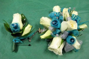 Rose Wrist Corsage & Boutonniere with teal ribbon roses
