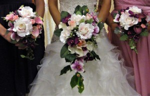 Silk Cascade & Bridesmaids Bouquets