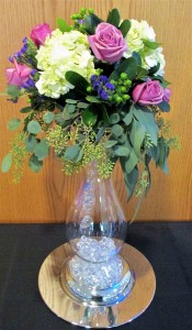 Large Lighted Vase with Flowers