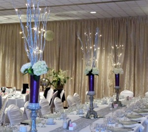 Lavish Silver Candlesticks with Lighted Branches