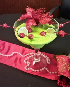 Margarita Glass with Christmas Decor