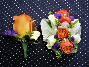 Orange Rose Corsage & Boutonniere