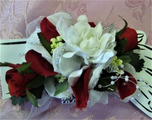Red & White Rose Wrist Corsage