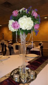 Romantic Tower Vase with Flowers and Draping Gems