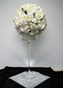 White Rose Ball on Tall Stemware