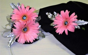 Silver and Pink Gerber Daisies Corsage & Boutonniere