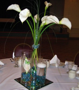 Trio Cylinders with Calla Lilies
