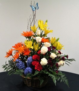 Wicker Basket Bright  Floral Arrangement