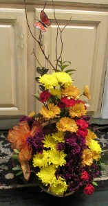 Wicker Basket Fall Arrangement