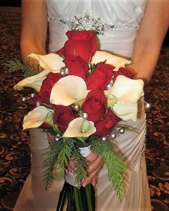 Red Roses,Calla Lily and Silver Pearls  Bouquet